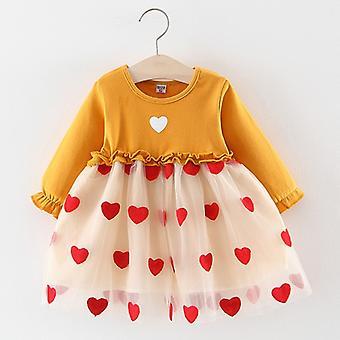 Peuter meisjes schattige liefde prinses denim lente jurk geel