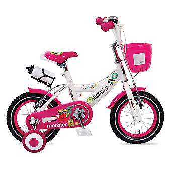 Barnens cykel 12 tum 1281 rosa flickor, stödhjul, främre korg, mugghållare