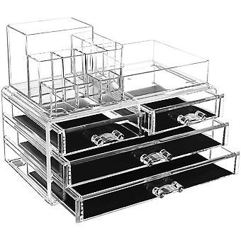 Wokex Acryl Kosmetik aufbewahrung Organizer 24 x 13,5 x 18,5 cm 2 Ebenen 4 Schubladen groe,