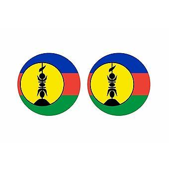 2x stick pegatina redonda cocarde bandera nueva caledonie kanaky