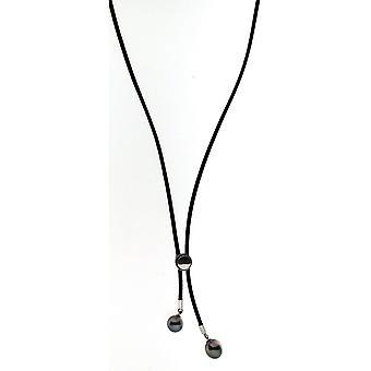 Collana Adriana Pearl Tahiti Collana di seta nera Argento 45 cm Y-Chain I4
