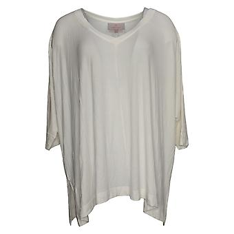 Laurie Felt Women's Top M/L Fuse Modal Ribbed Knit Pullover Ivory A392627