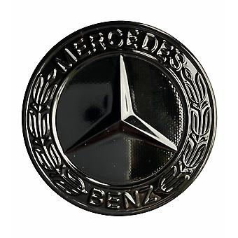 Gloss Black Mercedes Benz Bonnet Badge Emblem For B C E S CLK AMG Class 57mm