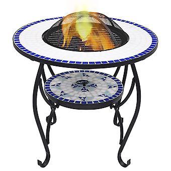 Mozaïek vuurtafel blauw en wit 68 cm keramiek