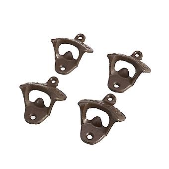 4pcs Rustic Cast Iron Open Here Bottle Opener Vintage Style Wall Mount Man Cave (brun)