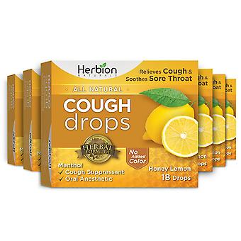 Herbion Naturals Cough Drops with Honey Lemon Flavor – 18 Ct (Pack of 6)