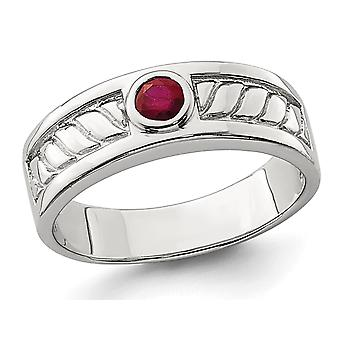 Mens 2.00 Carat (ctw) Ruby Ring Band in Sterling Silver
