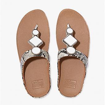 FitFlop Leia Exotic Ladies Toe Post Sandals Urban White Snake Mix