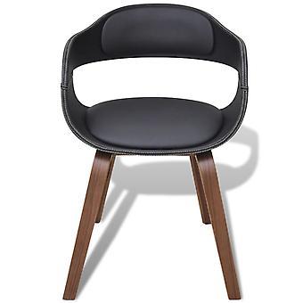 silla de comedor vidaXL con madera doblada y piel de imitación