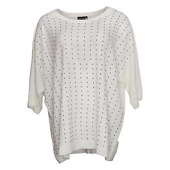 Antthony Women's Sweater Plus Extended Shoulder Rhinestones Ivory 726489