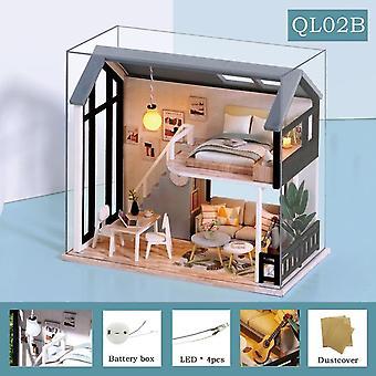 Roztomilý diy domček pre bábiky kit drevené bábiky domy miniatúrne bábiky nábytok kit s led hračky pre deti vianočný darček ql02
