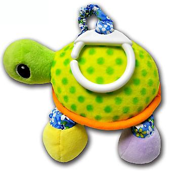 Turtle Baby Hanging Toys Children Rattle Toys With Mirror Bb Device Bell Soft Plush Rattling Doll Green