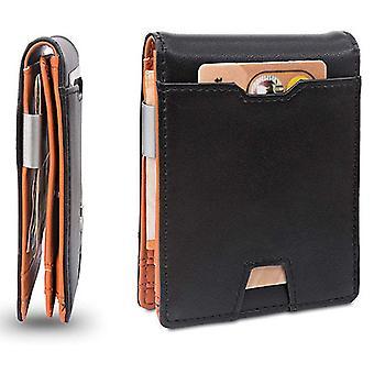 Pánská dolarová klipová vrstva kožená multifunkční peněženka tri-fold tenký držák karty