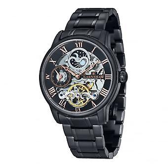 Thomas Earnshaw Es-8006-55 Longitude Black Stainless Steel & Rose Gold Mens Automatic Skeleton Watch