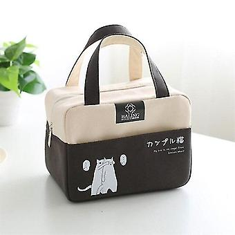Cartoons Tote Lunch Bags Insulated Lunch Bag Portable keep Food Safe Warm Lunch Bags(black)