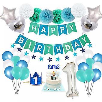 L0hill cumpleaños corona decoraciones, 58 Pcs globos decoración de la fiesta para los niños hombres con azul feliz cumpleaños