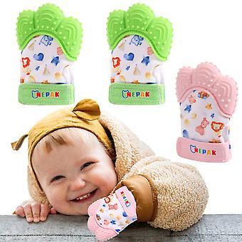 4 Pack Baby Teething Mitten,Baby Beißhandschuhe,Knisternder Handschuh für Babys Cartoon Stil,Bright