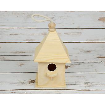 Boîte carrée en bois d'oiseau ou birdhouse - 20.5cm grand