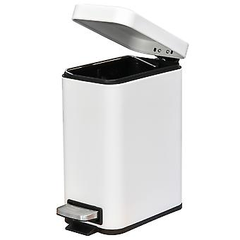 HOMCOM 5L Rectangular Compact Bin Steel Body Removable Bucket Quiet-Close Lid w/ Pedal Lid Rubbish Trash Can Home Office Bedroom Bathroom Living Room Garbage Tidy Clean White