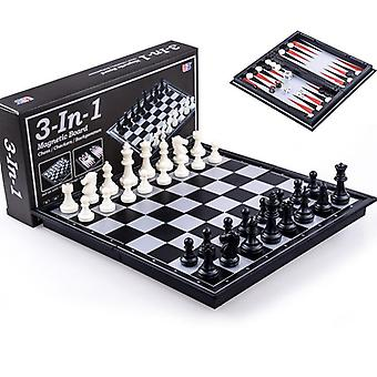 لعبة الشطرنج المغناطيسي لعبة الداما طاولة الزهر تعيين الطريق قابلة للطي لعبة المجلس 3 في 1 لعبة الشطرنج الدولية القابلة للطي لعبة الشطرنج المحمولة المجلس