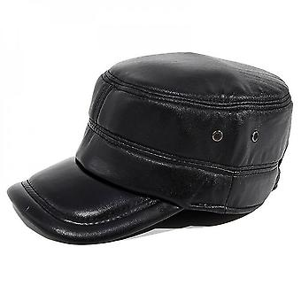 Evago Men's Flat Cap Hunting Real Sheepskin Leather Driver Cap Newsboy Hat Genuine Leather Caps Free Size