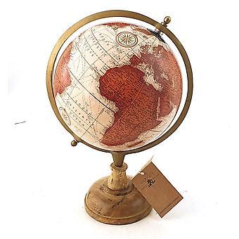 Globus Holzfuß Braun antik 34 cm