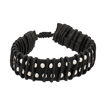 Zwart leder chroom bezaaid verstelbare armband