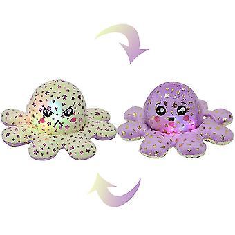 Leuchtendes doppelseitiges Oktopus-Plüsch-Spielzeug, Pailletten bedruckter Oktopus mit Licht (Yello Purple)