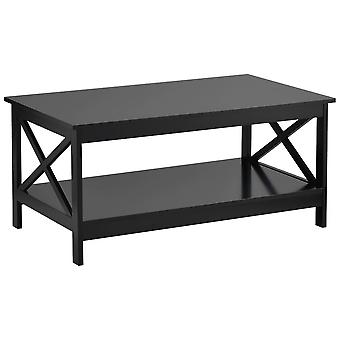 Living Room Modern X Design Coffee Wooden Table With Storage Shelf