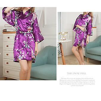 Women Floral Printed Satin Robe Fashionable Satin Pajama Sleepwear For Party