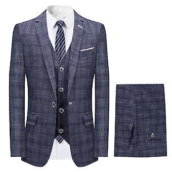 Mile Mens Suit 3 Piece Slim Fit Wedding Business Dinner Suits For Men Jacket Button Shawl Lapel Blazer Waistcoat Trousers