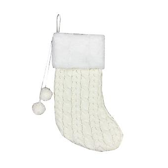 Swotgdoby Christmas Knitted Socks, Plush Socks Decorated With Two Small Pompoms