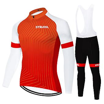Strava Men's Long Sleeve Cycling Jersey Set Pants With 3d Suspender Pants - Red