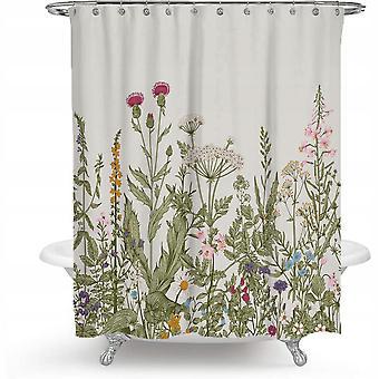 Cortina de ducha con 12 anillos de fijación, 180x180 cm, plantas verdes (a)