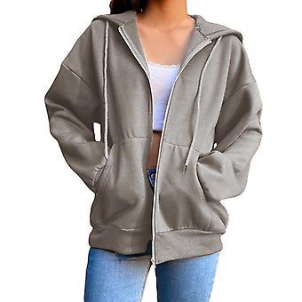 Kobiety Solid Color Hooded Coat Kurtka Casual Loose Hoodie Zipper Outwear Overcoat