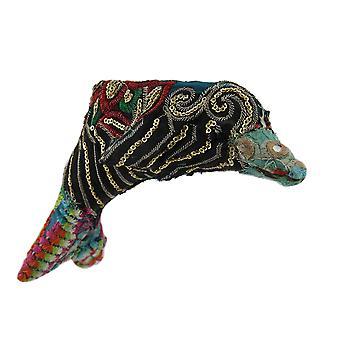 Bunte Vintage indischen Sari Stoff eingewickelt Delphin-Skulptur