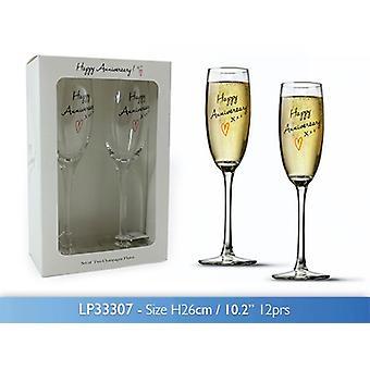 Happy Anniversary Flute da Champagne Bicchieri Set di 2 regalo inscatolato Cristalleria
