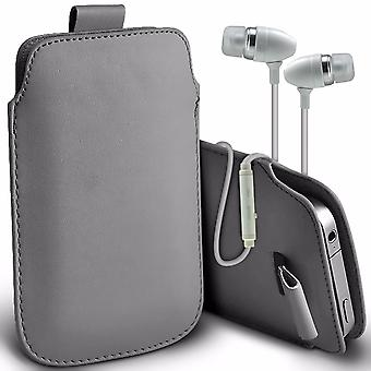 """i-Tronixs Vodafone Smart N8 (5"""") - Protective Faux Leather Pull Tab Stylish Fitted Pouches Case Cover Skin & Premium Quality Aluminium In Ear Earbud Stereo Hands Free Headphones Earphone Headset with Built in Microphone Mic & On-Off Button - Grey"""