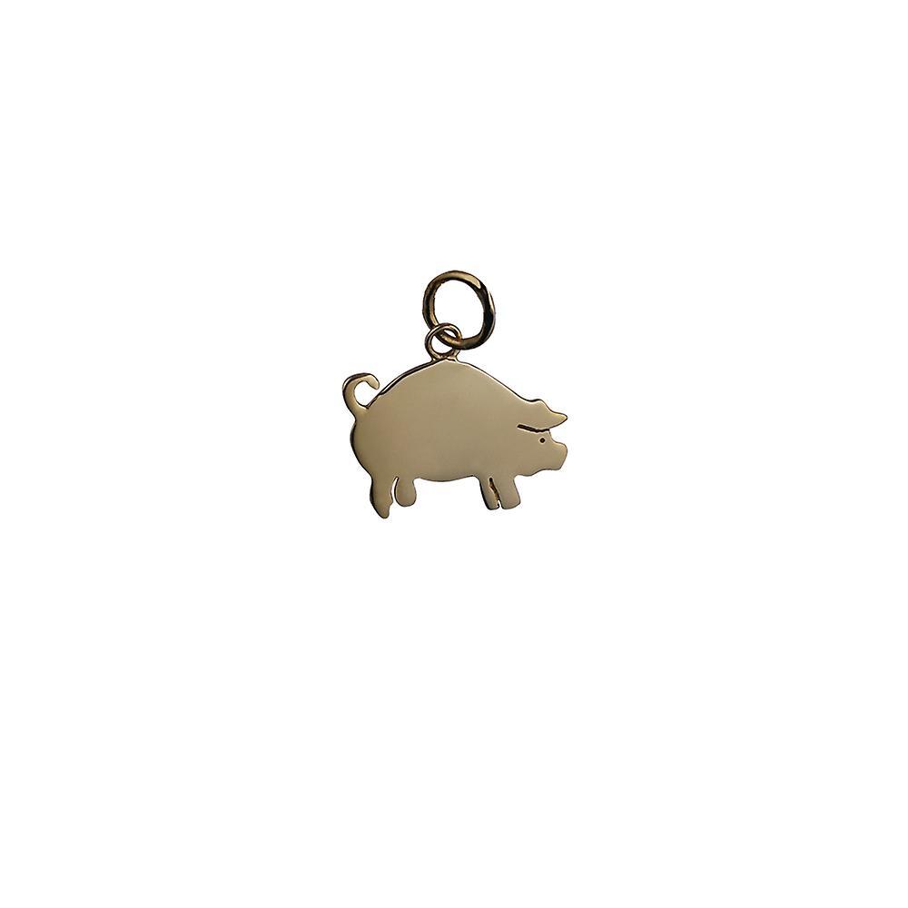 9ct Gold 18x12mm Schwein Anhänger oder Charm