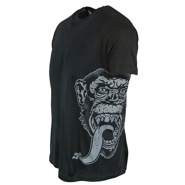 Singe Garage Mens officiel gaz singe Garage côté impression T Shirt noir à gaz