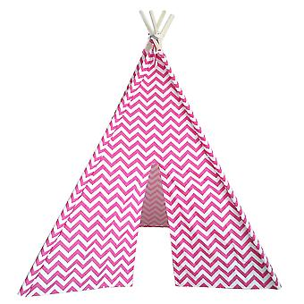 Modern Home Children's Oxford Tepee Set with Travel Case - Pink Chevron