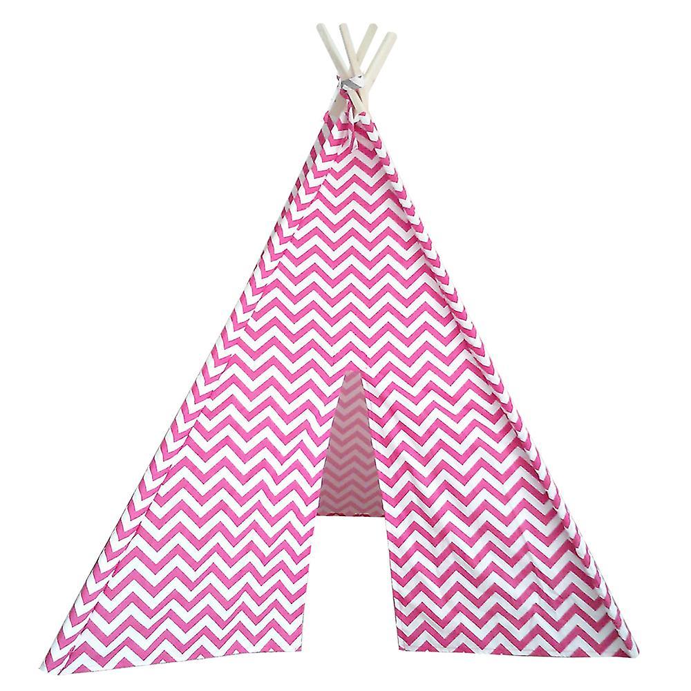 Modern Home Children's Oxford Tepee Set with Travel Case - Pink Chevron