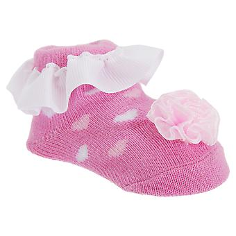 Baby Girls Pink Frilly Top Socks With Bow (One Pair)