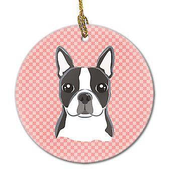 Carolineøerne skatte BB1203CO1 skakternet Pink Boston Terrier keramiske Ornament