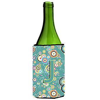Letter J Circle Circle Teal Initial Alphabet Wine Bottle Beverage Insulator Hugg