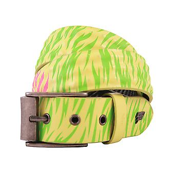 Lowlife Cover Up Leather Belt in Neon Yellow