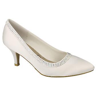 05a4667e461c Ladies Womens Ivory Satin Wedding Bridal Slip On Diamante Courts Shoes