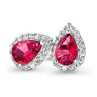 Orphelia Silver 925 Earring Drop Ruby kleur zirkonium ZO-7226/RU