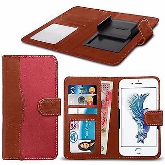 """For Asus ZenFone 4 (5.5"""") - High Quality Fabric Material Clamp Wallet Case (Red and Brown) by i-Tronixs"""