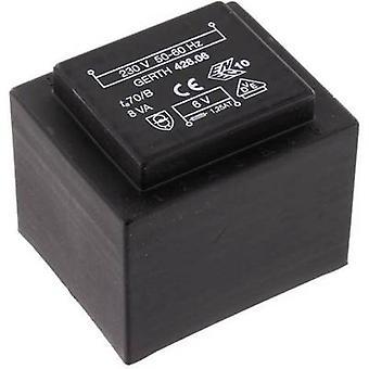 Gerth PTF424802 PCB mount transformer 1 x 230 V 2 x 24 V AC 8 VA 166 mA
